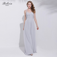 Belicia Couture Silver Grey Formal Evening Dress Bride Banquet Backless Sleeveless Party Gown Spaghetti Strap Prom