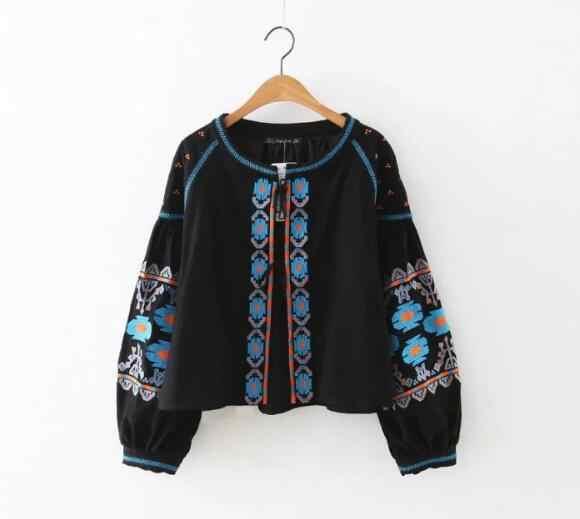 Бохо цвета цветок вышивка куртка Этническая женщина фонарь рукав шнуровка кимоно Кардиган Куртка солнцезащитный крем Femme 3 цвета
