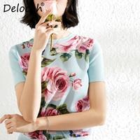Delocah Spring Summer Women Coat Runway Fashion Designer Short Sleeve Rose Flower Printed Elegant Slim hipster cool Ladys tee