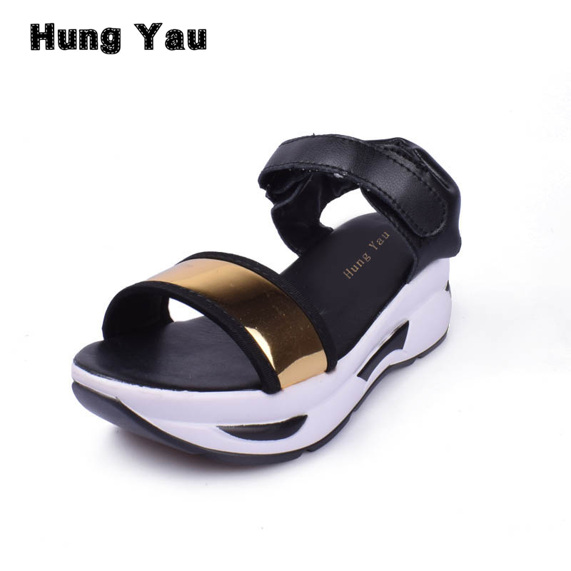 Hung Yau Women Sandals Summer Style Beach Open Toe Sandals Women's Shoes Slope Thick Heels Platform Muffin Creepers Wedge Shoes summer causal open toe buckle high heeled thick waterproof platform sandals for women