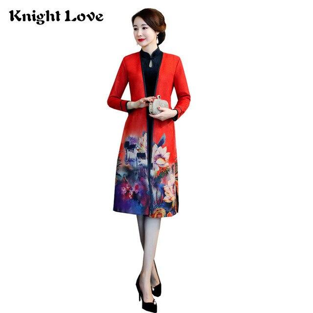 552ffd117292a8 Velours 2 pièces ensemble Cheongsam Vintage traditionnel chinois robe col  Mandarin femmes hiver Qipao robes de fête Vestido 4XL