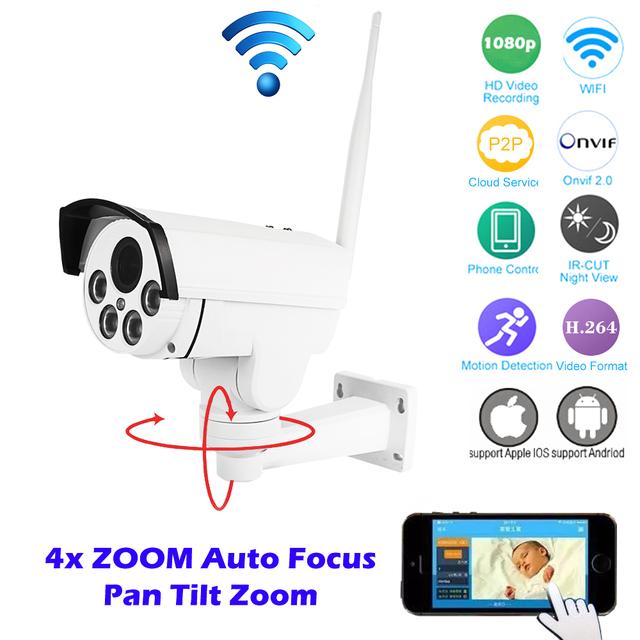 Hi3516c + sony imx323 hd 1080 p mini bala wifi ptz ip cámara 4x Enfoque Automático Zoom 2.8-12mm Tarjeta SD Onvif 2MP IR Inalámbrico Al Aire Libre
