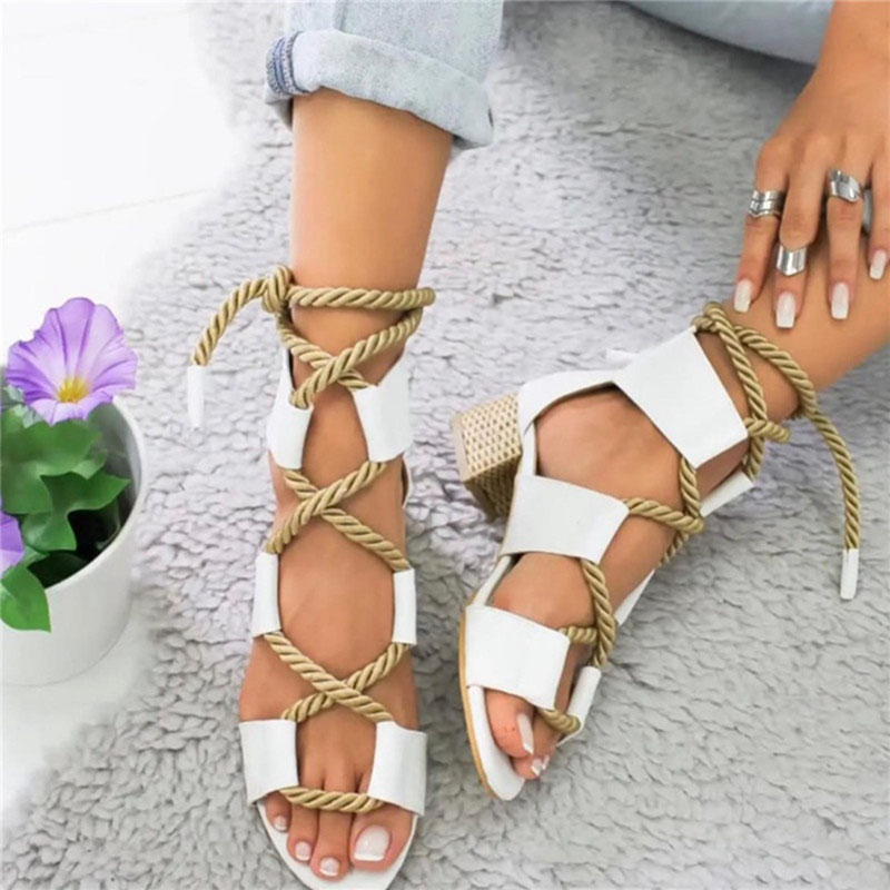 LOOZYKIT New Fashion Summer Espadrilles Women Sandals High Square Heel Pointed Fish Mouth Sandal Hemp Rope Lace Up Platform ShoeLOOZYKIT New Fashion Summer Espadrilles Women Sandals High Square Heel Pointed Fish Mouth Sandal Hemp Rope Lace Up Platform Shoe