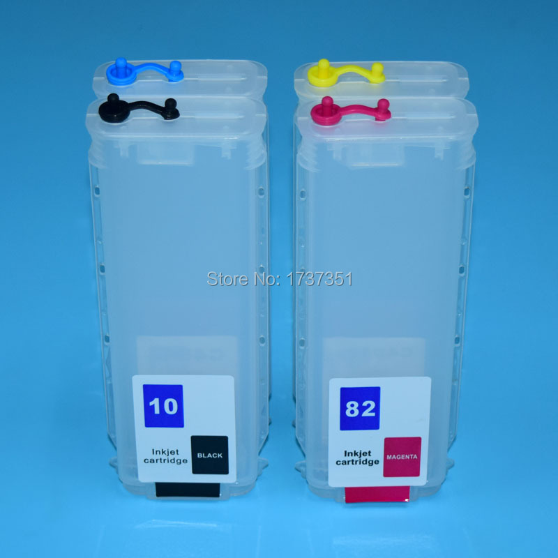 280ml 4 Color With Auto Reset Chip Refill ink Cartridge for HP 10 82 for HP Designjet 500 500ps 800 800ps printer 80ml 130ml 6 color with auto reset chip for hp 84 85 refillable ink cartridge for hp designjet 30 90 130 printer