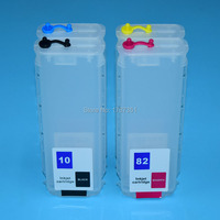 280ml 4 Color With Auto Reset Chip Refill ink Cartridge for HP 10 82 for HP Designjet 500 500ps 800 800ps printer