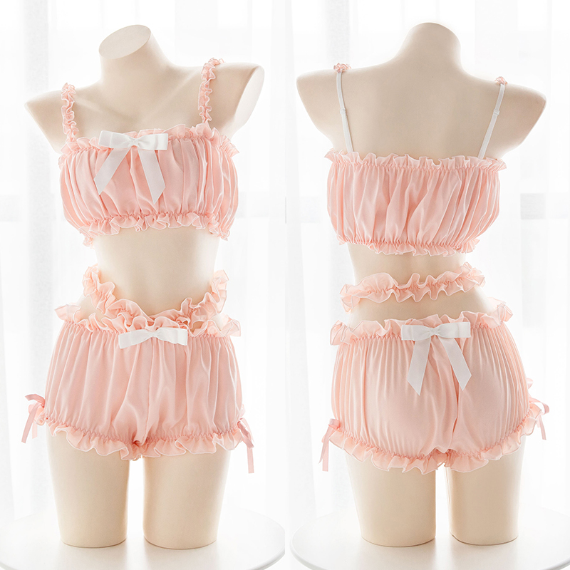 Sexy Women's Lingerie Set Lolita Bow Ruffles Camisoles & Shorts Chiffon Underwear Set Sukumizu Japanese Cute Two-piece Suit