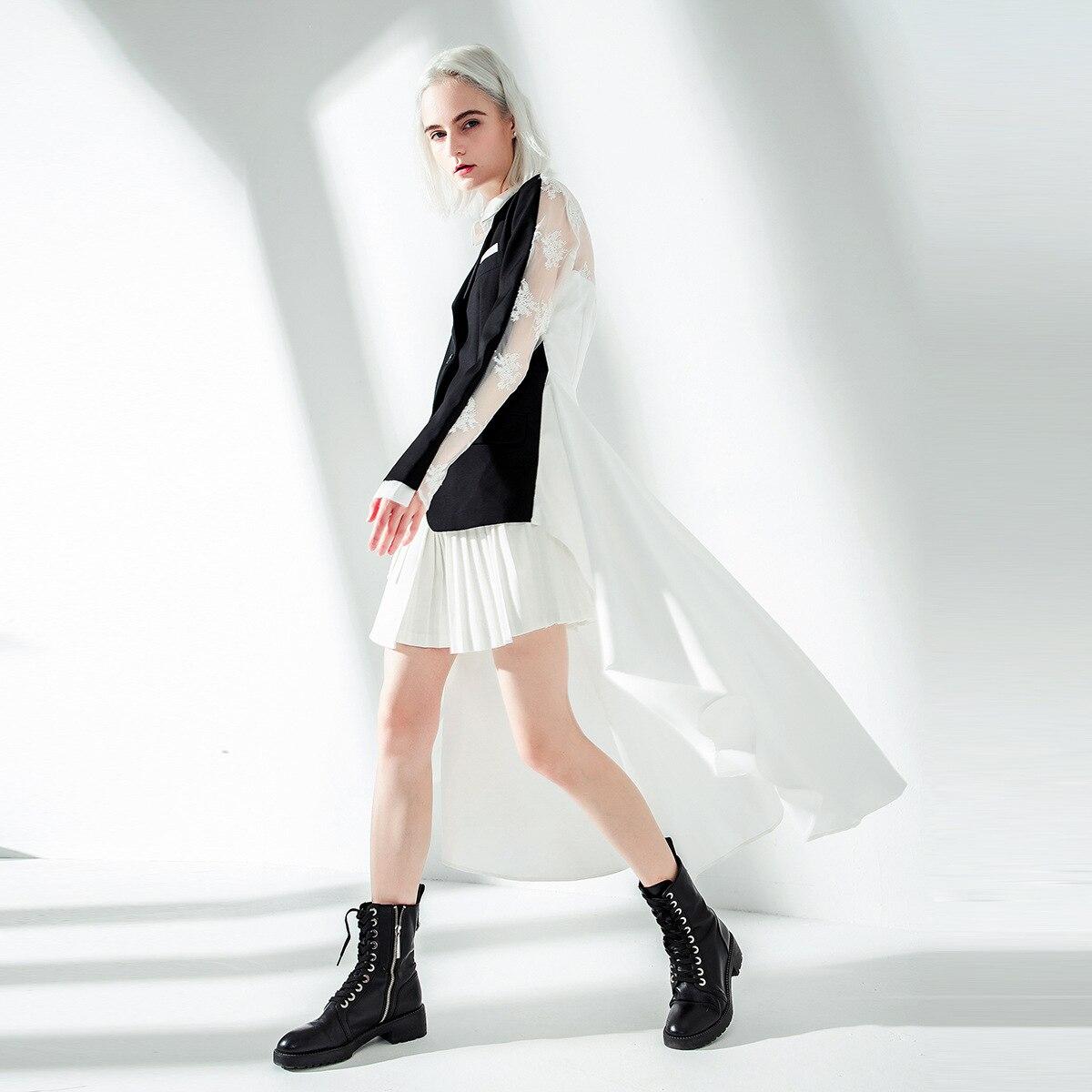 SuperAen Europa Mode Frauen Anzug Jacke Asymmetrische Frühling und Herbst Neue Jacke Weibliche 2019 Gefälschte Zwei stück Frauen Kleidung-in Basic Jacken aus Damenbekleidung bei  Gruppe 3