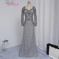 플러스 사이즈 2018 어머니 신부 드레스 인어 v 넥 긴 소매 레이스 웨딩 파티 드레스 어머니 드레스 웨딩
