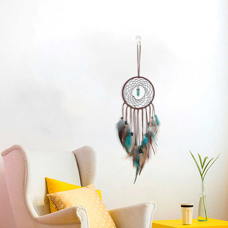 2018 Simple Wind Chime จี้ Turquoise Dream Catcher แหวนเดี่ยวห้องนอนห้องนั่งเล่นตกแต่ง Feather แขวนผนัง