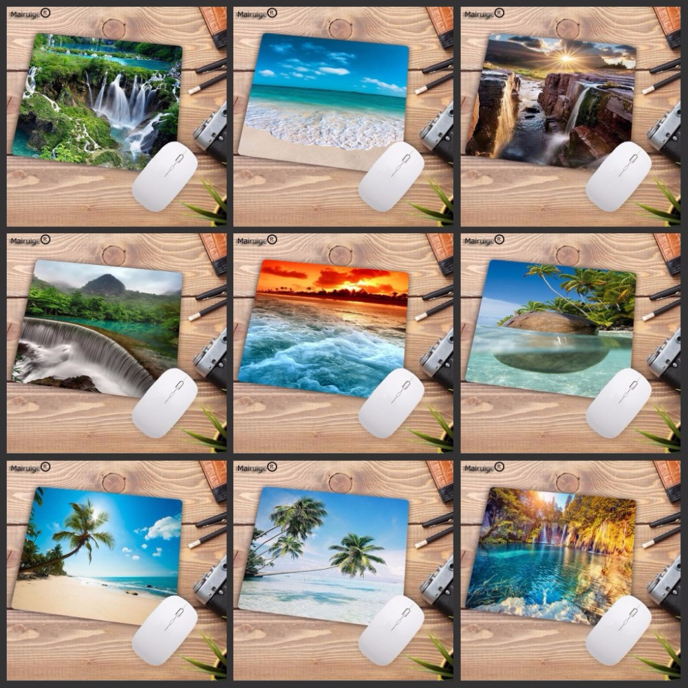 Mairuige Beach Waterfall Gaming Speed Rubber Mouse Pad Mousepad Laptop PC Mousepad For DOTA 2 LOL CSGO Play Gamer 18X22CM Mat