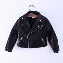 wholesale(5pcs/lot)-2016 autumn locomotive leather BLACK  jacket for child girl