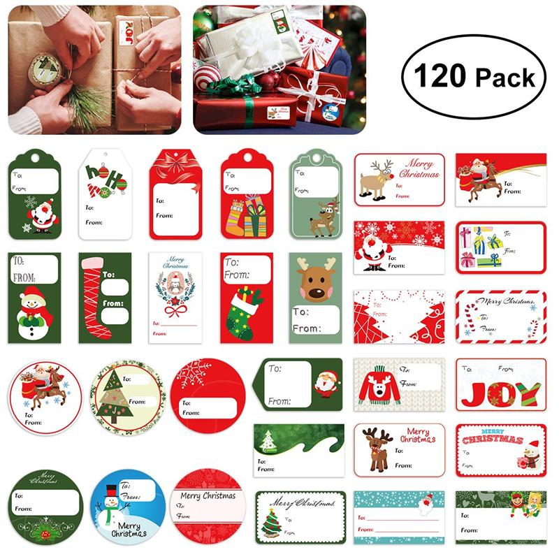 144 christmas self adhesive gift tag stickers 24 assorted designs