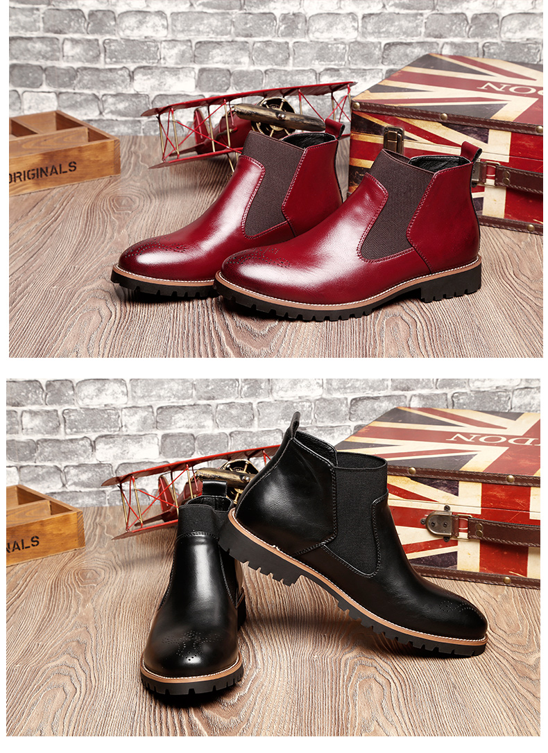 Luxury Genuine Leather Martin Boots British Carved Brogue Ankle Boots Fashion Men Boots Men's Slip-on Motorcycle Shoes Plus Size 23
