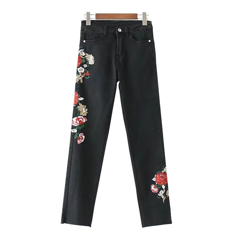 Vintage Floral Embroidery Black Denim Jeans Women 2017 New Fashion Europe Style Zipper Ankle Length Pants Casual Ladies Trousers 2017 fashion women jeans retro style floral embroidery ripped hole denim pencil pants vintage mid waist ankle length trousers