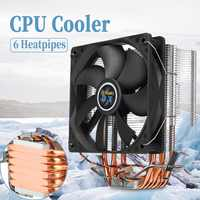 6 Heat Pipes CPU Cooler Copper Heatpipes 3Pin 12cm Cooling Fan Radiator Heatsink Cooler for LGA 1150/1151/1155/1156/1366/775 AMD