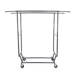 Heavy Duty Stahl Doppel-bar Garment Rack Kleiderbügel Schwarz und Chrom Überzogen