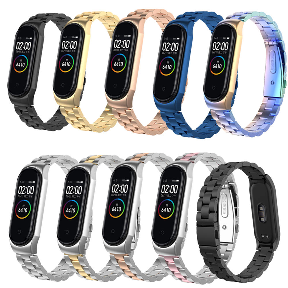 Mi Band 4 For Xiaomi Mi Band 4 Stainless Steel WatchStrap For Xiaomi Mi Band 3 Smart Wristband Bracelet Accessoriess+Metal Case