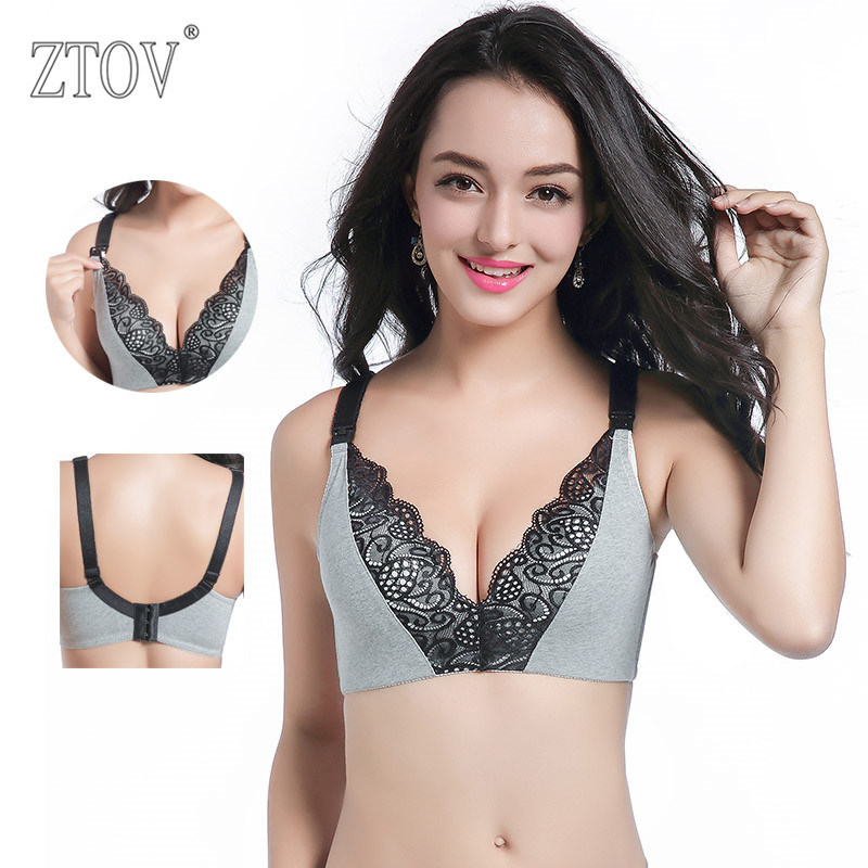 ZTOV 3 Pack Maternity Nursing Bra Black Lace Breastfeeding bra for pregnant women Pregnancy Breast feeding Underwear Clothes