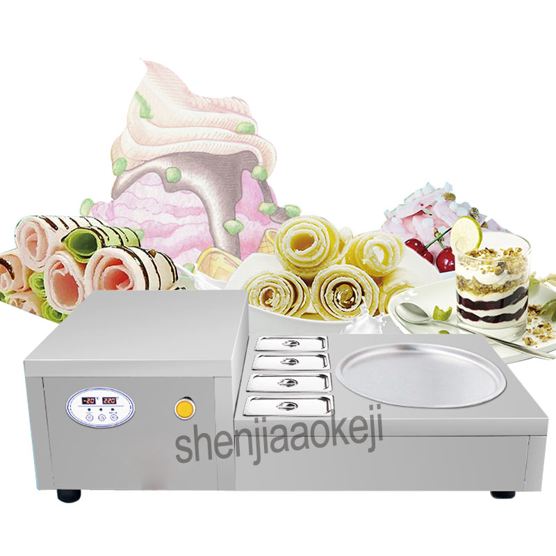 Commercial Fried Ice Roll machine Desktop Fried Ice Cream Machine Stainless Steel SingleRound Pan Fry Yogurt Machine 220v 740wCommercial Fried Ice Roll machine Desktop Fried Ice Cream Machine Stainless Steel SingleRound Pan Fry Yogurt Machine 220v 740w