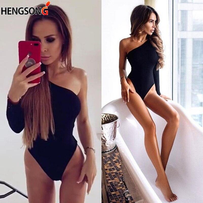 Female Summer Beach Wear Black Women Bodysuit One Shoulder Rompers Long Sleeve Off The Shoulder Bodysuits Overalls For Women
