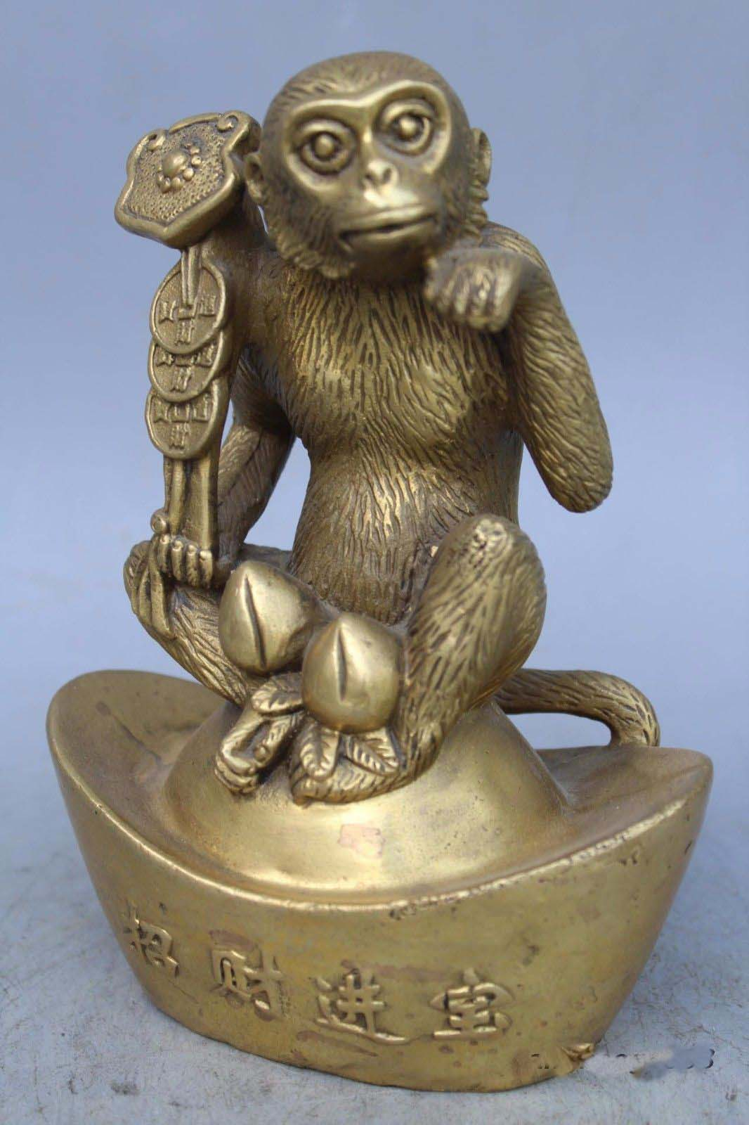 7 China brass copper carved fine Yuan Bao money lucky monkey Sculpture Statue7 China brass copper carved fine Yuan Bao money lucky monkey Sculpture Statue