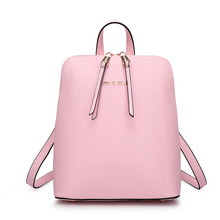 Korean style Genuine leather female backpack preppy style women shell bag double zipper ladies Stereotypes backpack