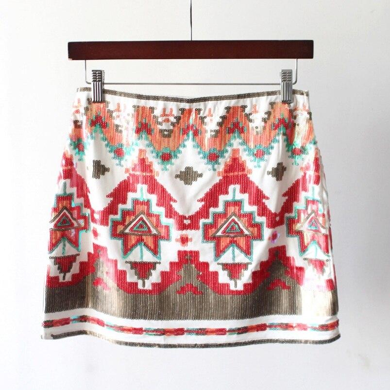 Vintage Elastic Waist Contrast Color Geometric Sequined A Line Mini Skirt Women's Fashion 2Colors