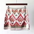 Vintage contraste color geométrica lentejuelas un line mini falda de la manera de las mujeres 2 colores