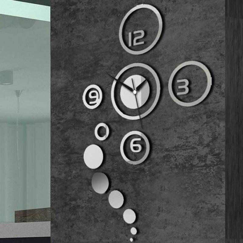 3D interieur diy wandklok spiegel modern design wandklok stickers ...