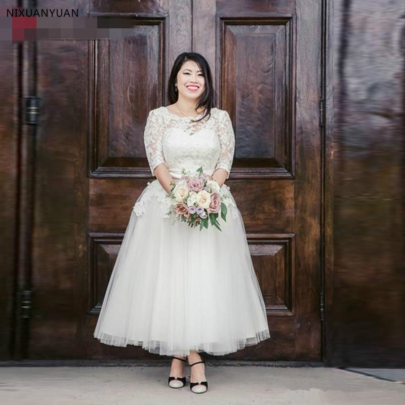 Short Spring Vintage Sheer Lace Ankle-Length Plus Size Wedding Dresses Couture Half Sleeve Tulle Bridal Gowns Covered Buttons