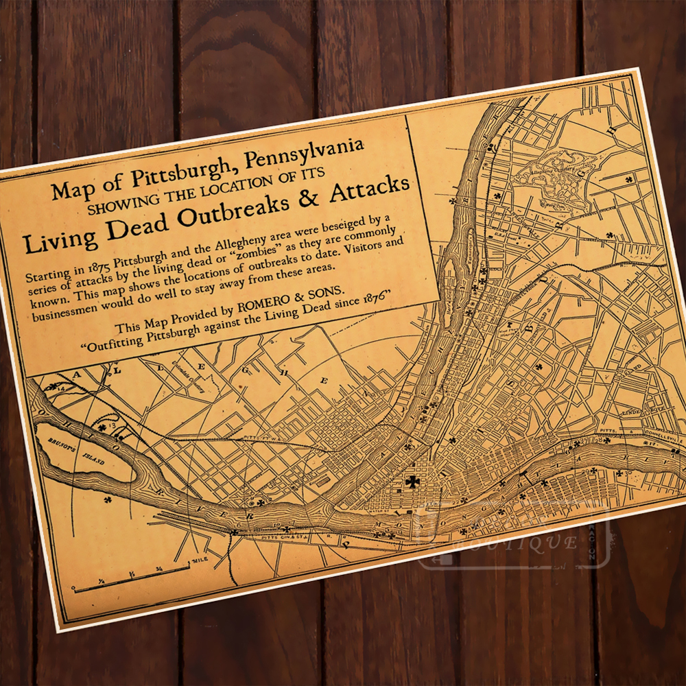 Home Decor Pittsburgh Pa: Map Of Pittsburgh Pennsylvania Classic Vintage Retro Kraft