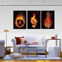 Music Art 3 Panel Painting Canvas Prints Wall Paintings Modern Home Decoration Black Burning Guitar Pop