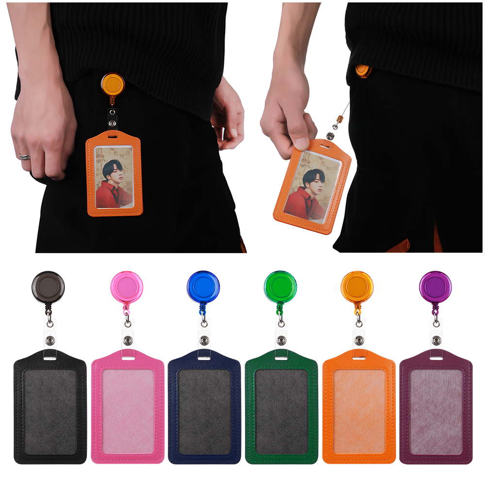 Portable No Zipper Cheap Safety Bank Credit Card Holders Bus ID Holders Identity Office Supplies Badge With Retractable Reel