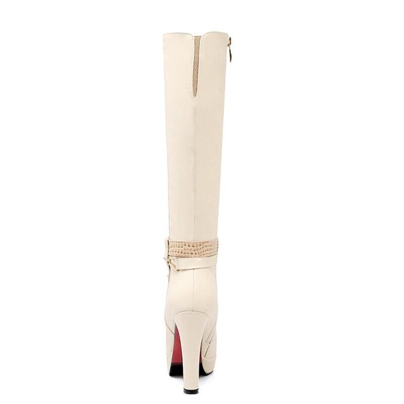 Zapatos Zipper De Rodilla black Botas Grande Mujeres 33 Redonda Tamaño alta Mujer Grueso Tacón Invierno Apricot Nuevas Plataforma white Punta 43 46tnw5xOAA