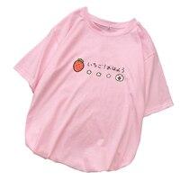 Для женщин с принтом клубники футболки летние топы с короткими рукавами женская повседневная одежда harajuku tumblr Kawaii мультфильм футболка Femme