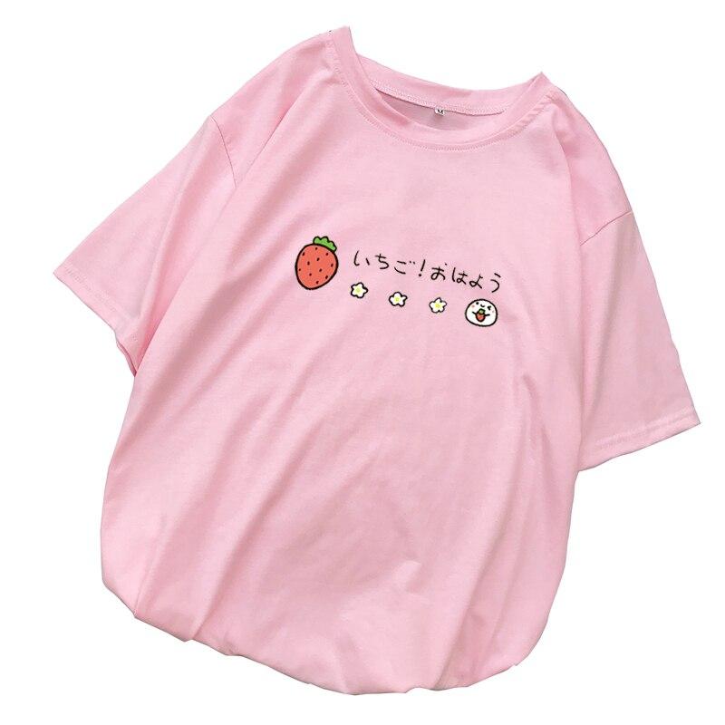 Mulheres Morango Camisas de Impressão T Summer Manga Curta Tops Ladies Casual Streetwear Harajuku Tumblr Kawaii Dos Desenhos Animados Camiseta Femme