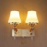 Mode E27 Wandlamp Kristal 7 Watt Single Dubbele Hoofd met Schakelaar Muur Lampen Slaapkamer 110 V-220 V LED Blaker Muur lichten