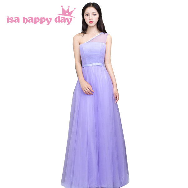 girls lilac long purple one shoulder   bridesmaid     dress   tulle floor length girls size 4 party   dresses   2019 fashionable H3736