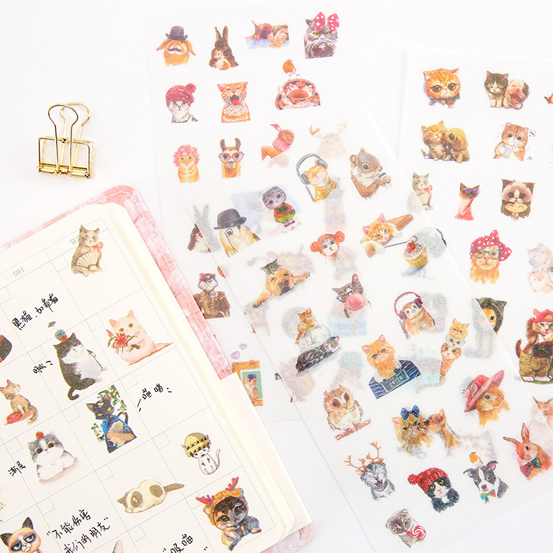 6PCS New Cute Meow Selling Sprout Children Stationery Stickers For DIY Albums Scrapbooking Diary Decoration Cartoon Depicting image