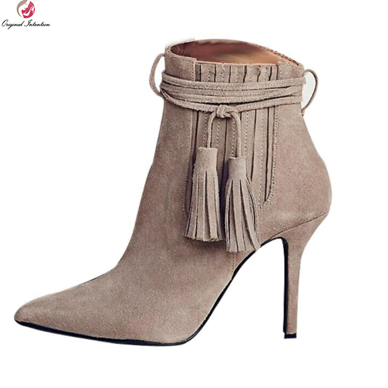 Original Intention Elegant Women Ankle Boots Stylish Pointed Toe Thin High Heels Boots Nice Khaki Shoes Woman Plus US Size 4-15 creativesugar elegant pointed toe woman