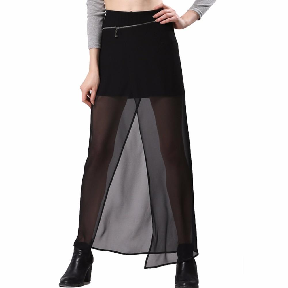 Sexy Summer Long Maxi Midi Adult Tulle Black Gothic High Waist Women Sun Skirts Female Lady Femme Femininas Feminine Kilt 2016