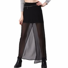 Sexy Summer Long Maxi Midi Adult Tulle Black Gothic High Waist Women Sun Skirts Female Lady