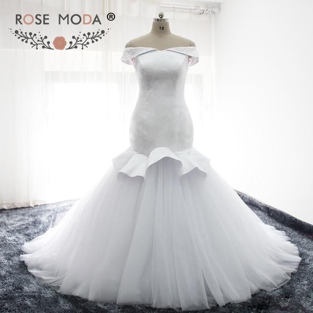 Rose Moda Meerjungfrau Hochzeitskleid 2018 Weg Schulter Lace Up ...