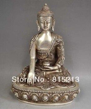 bi0067 Tibetan Silver Bronze Sakyamuni Buddha Statue