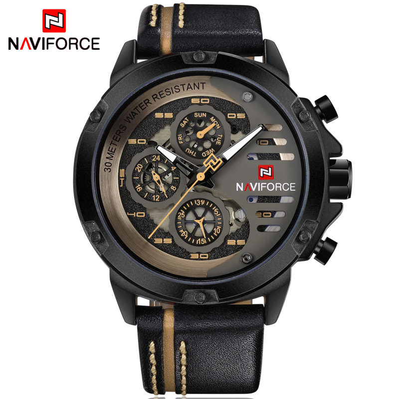 Mens Watches NAVIFORCE Top Brand Luxury Waterproof 24 hour Date Quartz Watch Man Leather Sport Waterproof Wrist Watch Men Clock цена