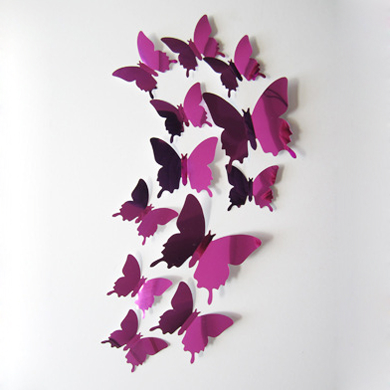 1SET 3D Vinyl Wall Stickers For Kids Rooms 3D Butterflies On The Wall Art Wall Decal Home Decoration Kitchen Adesivo De Parede