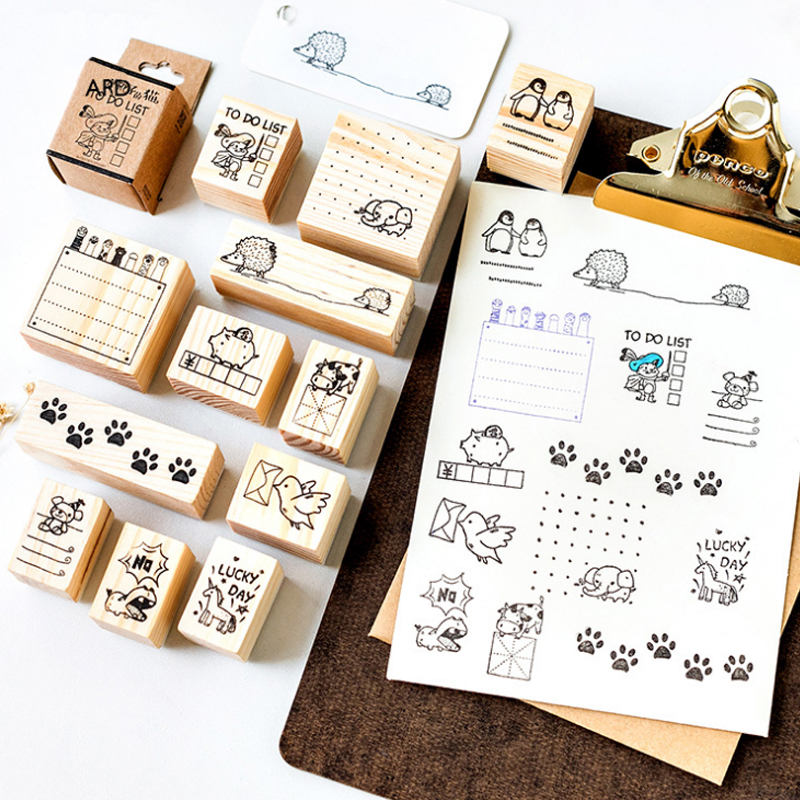 1 Pcs Small Animal Diary Series Wooden Stamp Diy Handmade