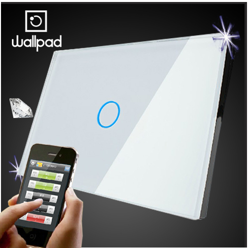 White Crystal Glass 118 US AU 1 Gang Wifi Light Switch,Wallpad Wireless Remote control wall touch light switch,Free Shipping 2017 free shipping smart wall switch crystal glass panel switch us 2 gang remote control touch switch wall light switch for led