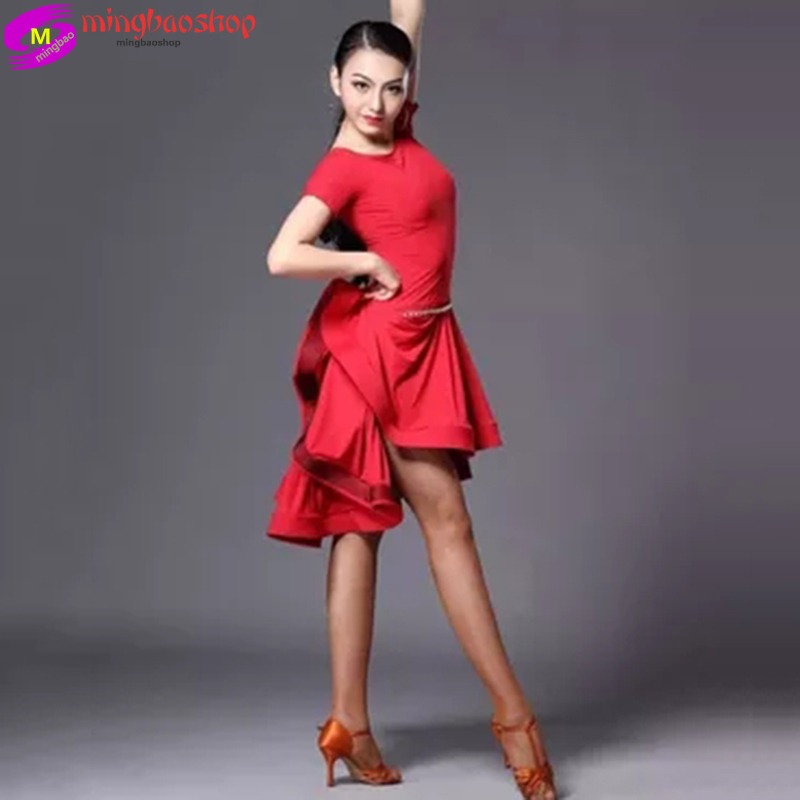 Latin Dance Skirt Woman Practice Dress 2018 Performance Latin Dance Skirt Red Black Woman Rumba Cha Cha Latin Dance Dresses