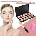 15 Colors Matte Contour Face Cream Makeup Concealer Palette Brush Sets Professional Facial Cosmetic